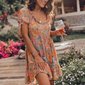 Boho Chic Floral A-Line Mini Dress NEW